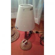 lampada intagliata legno h45