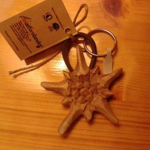 portachiavi stella alpina - noce